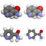 Van de vitamine B3 (niacine, niacinamide) de molecule Royalty-vrije Stock Afbeelding