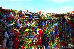 Van de vlaggenlungta van het boeddhismegebed de windpaard met om mani padme gezoem B Royalty-vrije Stock Fotografie