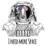Van de vlagglazen van de V.S. markeert de Amerikaanse vlag Verenigde Staten Paard, hoss, ros, courser dragend ruimtepak Wilde die stock illustratie