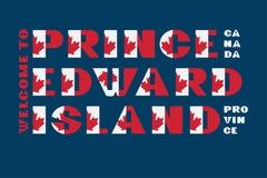 Van de de vlagstijl van Canada de motivatieaffiche met tekst Welkome Prins Edward Island Moderne typografie voor collectief grafi royalty-vrije illustratie