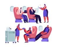 Van de vliegtuigbemanning en Passagier Karakters in Vliegtuig Stewardess Giving Meal aan Gelukkige Mensen die op Stoelen in Uit d stock illustratie