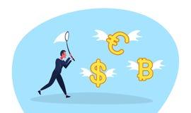 Van de de vlinder het netto vangst van de zakenmanholding van de dollar euro bitcoin van de het geldgroei van de de rijkdomuitwis stock illustratie