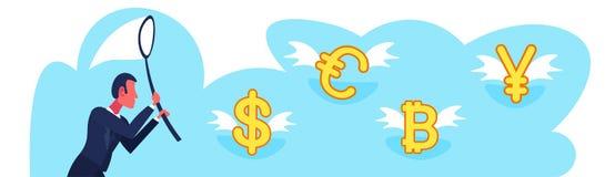 Van de de vlinder netto vangst van de zakenmanholding van de dollar euro yuans van de het geldgroei bitcoin van de de rijkdomuitw royalty-vrije illustratie