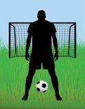 Van de voetbal (voetbal) speler het silhouet stock afbeelding
