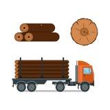 Van de vrachtwagenpictogrammen van het houthakkersbeeldverhaal de vectorillustratie Royalty-vrije Stock Afbeeldingen