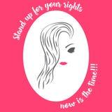 Van de de vrouwen` s dag van het vrouwengezicht van de de voorlichtingsillustratie het roze wit vector illustratie