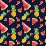 Van de waterverfananas en watermeloen plakken naadloos patroon De zomerachtergrond met verse sappige tropische vruchten royalty-vrije illustratie