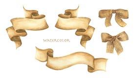 Van de waterverflinten en jute boogreeks vector illustratie