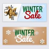Van de websitebanners van de de winterverkoop het Webmalplaatje Kan voor mobiel worden gebruikt Stock Foto