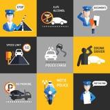 Van de wegpolitie vlakke vector als achtergrond Royalty-vrije Stock Afbeeldingen