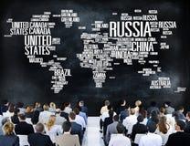 Van de Wereld Internationale Landen van Rusland de Globale Globalisering Concep stock afbeelding