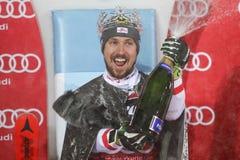 Van de Wereldbekermensen van Audi FIS de ceremonie van de de Slalomtoekenning royalty-vrije stock foto