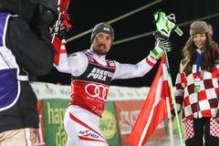 Van de Wereldbekermensen van Audi FIS de ceremonie van de de Slalomtoekenning royalty-vrije stock fotografie