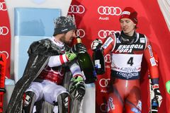 Van de Wereldbekermensen van Audi FIS de ceremonie van de de Slalomtoekenning royalty-vrije stock afbeeldingen