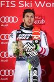 Van de Wereldbekermensen van Audi FIS de ceremonie van de de Slalomtoekenning stock afbeelding