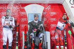 Van de Wereldbekermensen van Audi FIS de ceremonie van de de Slalomtoekenning stock afbeeldingen