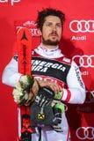 Van de Wereldbekermensen van Audi FIS de ceremonie van de de Slalomtoekenning stock fotografie
