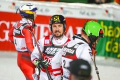 Van de Wereldbekermensen van Audi FIS de Slalom Tweede looppas stock fotografie