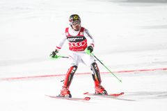 Van de Wereldbekermensen van Audi FIS de Slalom Tweede looppas stock afbeeldingen