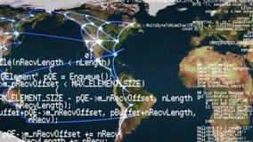 Van de wereldkaart en interface codes stock footage