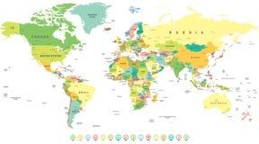 Van de wereldkaart en navigatie pictogrammen - illustratie Stock Foto's
