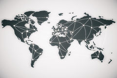 Van de wereldkaart en verbinding lijnen Stock Fotografie