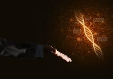 Van de wetenschapsgeneeskunde en technologie concepten als DNA-molecule op donkere achtergrond met verbindingslijnen Stock Foto