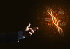 Van de wetenschapsgeneeskunde en technologie concepten als DNA-molecule op donkere achtergrond met verbindingslijnen Stock Afbeelding