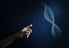 Van de wetenschapsgeneeskunde en technologie concepten als DNA-molecule op donkere achtergrond met verbindingslijnen Royalty-vrije Stock Afbeelding