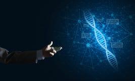 Van de wetenschapsgeneeskunde en technologie concepten als DNA-molecule op donkere achtergrond met verbindingslijnen Stock Foto's