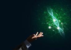 Van de wetenschapsgeneeskunde en technologie concepten als DNA-molecule op donkere achtergrond met verbindingslijnen Stock Afbeeldingen