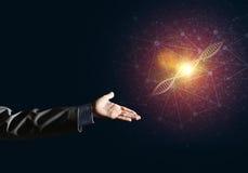 Van de wetenschapsgeneeskunde en technologie concepten als DNA-molecule op donkere achtergrond met verbindingslijnen Royalty-vrije Stock Foto