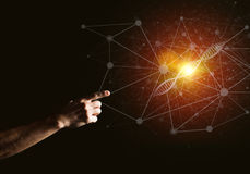 Van de wetenschapsgeneeskunde en technologie concepten als DNA-molecule op donkere achtergrond met verbindingslijnen Royalty-vrije Stock Foto's
