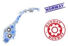 Van de wielsamenstelling Vector van Noorwegen de Kaart en van Grunge Verbindingen vector illustratie