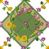 Van de wildflowers naadloze textuur van waterverfpaardebloemen het patroonachtergrond stock illustratie