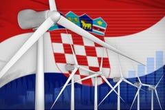 Van de de windenergie van Kroatië concept van de de machts het digitale grafiek - milieu natuurlijke energie industriële illustra royalty-vrije illustratie