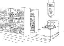 Van de de winkel binnenlandse zwarte witte grafische schets van de kruidenierswinkelopslag de illustratievector stock illustratie