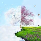 Van de winter aan de lente Stock Foto's