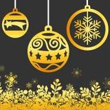 Van de de winter Gouden Sneeuwvlok Vectorbeeld Als achtergrond Stock Fotografie