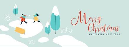 Van de winterkinderen van het Kerstmis nieuwe jaar de groetkaart vector illustratie