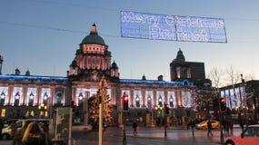 Van de Wintertijdbelfast van Noord-Ierland Kerstmis van de Stadslichten Stock Foto's