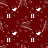 Van de de wintervakantie van nieuwjaarkerstmis het naadloze patroon met giften, Kerstmisboom en sneeuwvlok stock illustratie