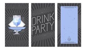 Van de wodkaglas en drank partijontwerp vector illustratie