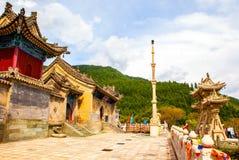 Van de Wutaishan (Onderstel Wutai) tempel scène-Longquan de hoofdingang. Royalty-vrije Stock Foto's