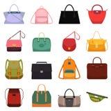 Van de de zakkenhandtas van het vrouwenleer toevallige de schooltas isoleerden reticule en de kleurrijke zak vectorillustratie Royalty-vrije Stock Afbeeldingen
