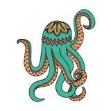 Van de Zenverwarring en zen krabbel octopus Zentangle en zendoodle tentakel Het kleuren boek marien dier Vector poulpe Stock Foto's