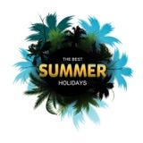 Van de zomer Tropische Exotische Bladeren en Takken samenstelling met het gouden van letters voorzien Royalty-vrije Stock Fotografie