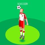 Van de Zomerspelen van de voetbalkopbal 3D Isometrische Vectorillustratie Stock Afbeelding