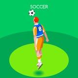 Van de Zomerspelen van de voetbalkopbal de Isometrische 3D Vectorillustratie Stock Illustratie