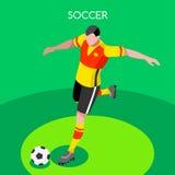 Van de Zomerspelen van de voetbalstriker 3D Vectorillustratie Vector Illustratie